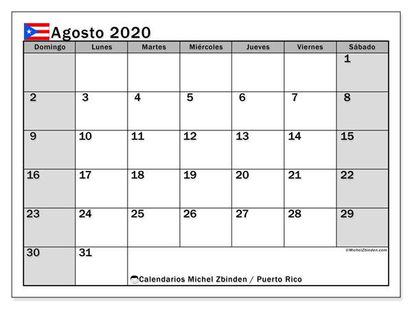 Calendario agosto 2020, con días feriados de Puerto Rico. Calendario para imprimir gratis con días festivos.