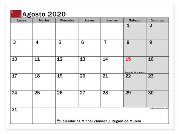 Calendario agosto 2020, con días feriados en la Región de Murcia. Calendario vacaciones y festivos para imprimir gratis.