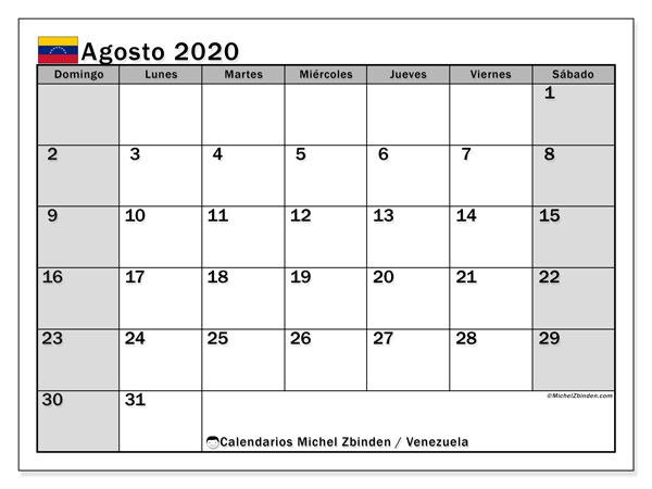 Calendario agosto 2020, con los días feriados para Venezuela. Calendario imprimible gratis.