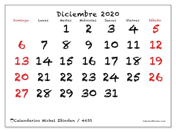 Calendario diciembre 2020, 46DS. Calendario gratuito para imprimir.