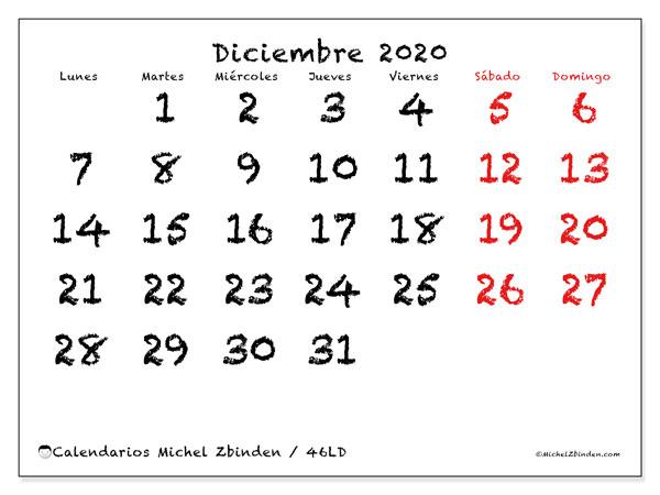 Calendario diciembre 2020, 46LD. Calendario imprimible gratis.