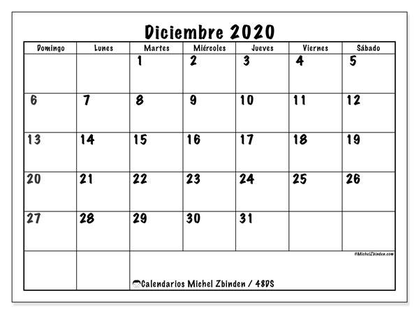 Calendario diciembre 2020, 48DS. Calendario gratuito para imprimir.