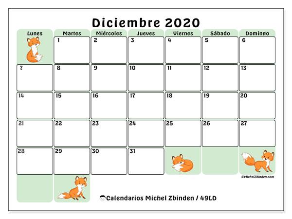 Calendario diciembre 2020, 49LD. Almanaque para imprimir gratis.