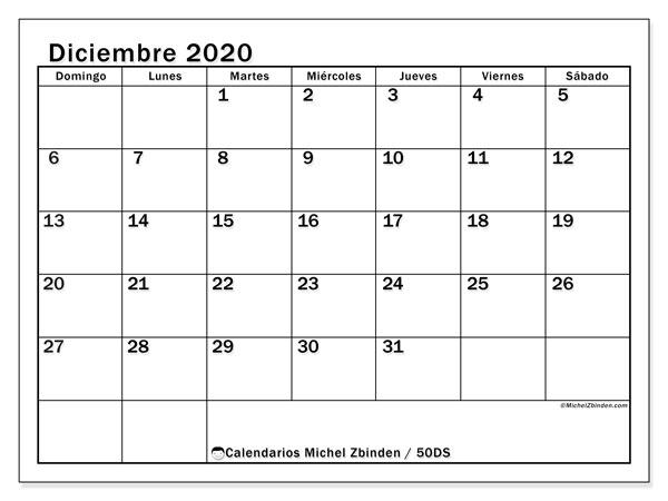 Calendario diciembre 2020, 50DS. Calendario para el mes para imprimir gratis.