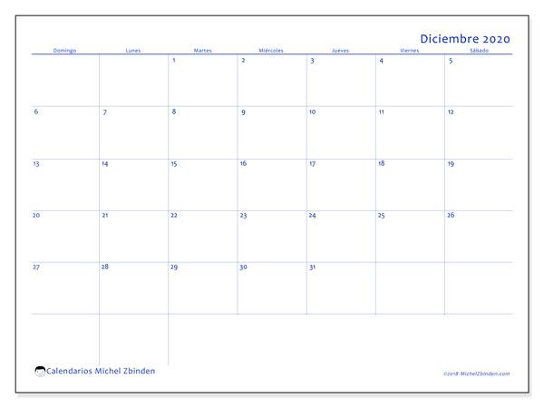 Calendario diciembre 2020, 55DS. Calendario imprimible gratis.