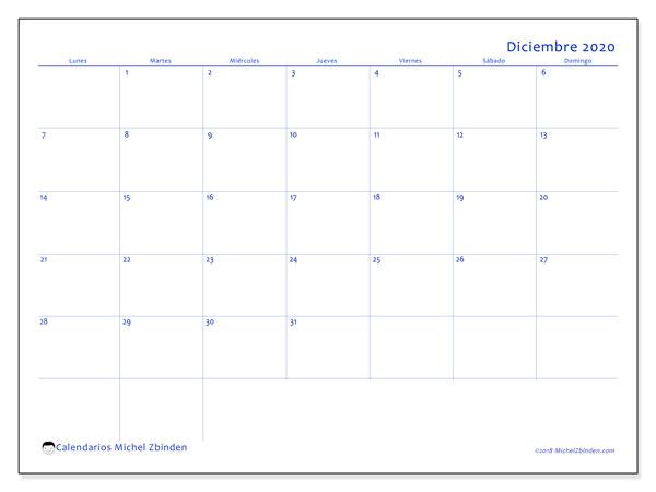 Calendario diciembre 2020, 55LD. Calendario mensual para imprimir gratis.