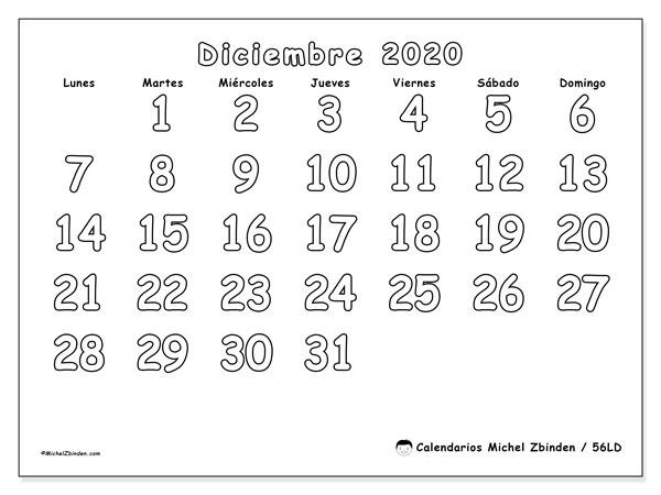 Calendario diciembre 2020, 56LD. Calendario imprimible gratis.