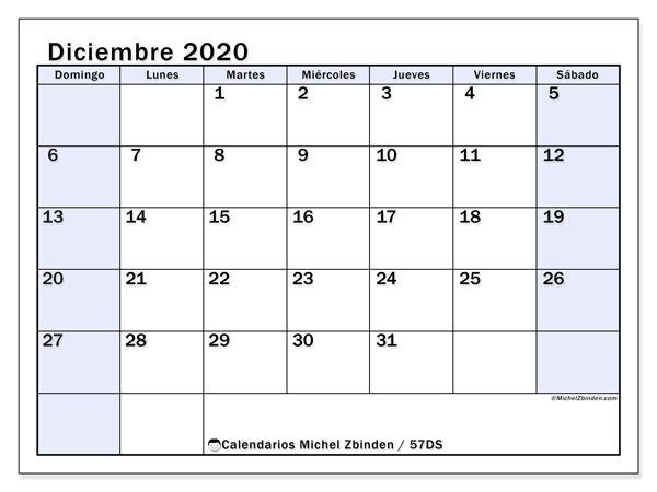 Calendario diciembre 2020, 57DS. Almanaque para imprimir gratis.