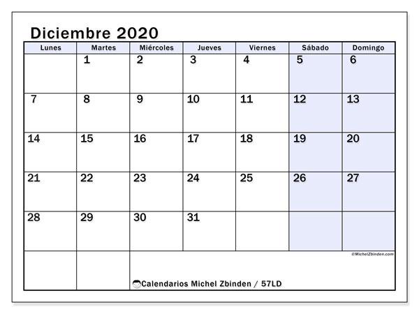 Calendario diciembre 2020, 57LD. Planificación para imprimir gratis.