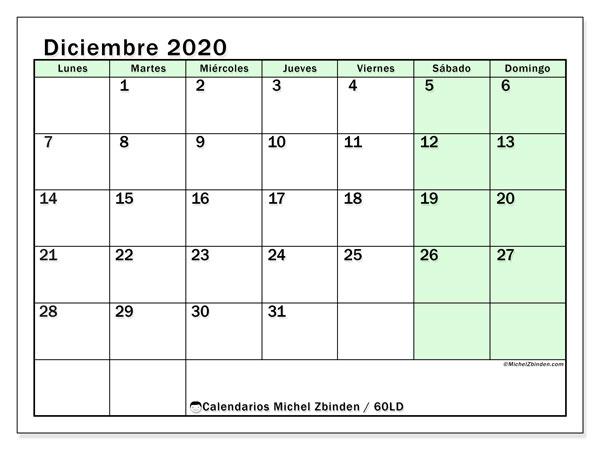 Calendario diciembre 2020, 60LD. Calendario para el mes para imprimir gratis.