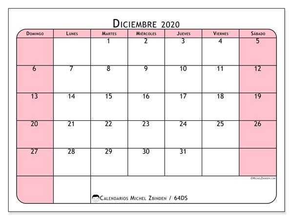 Calendario diciembre 2020, 64DS. Calendario imprimible gratis.