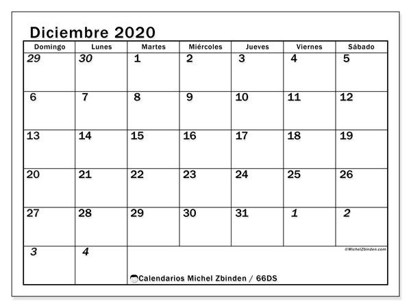 Calendario diciembre 2020, 66DS. Calendario imprimible gratis.