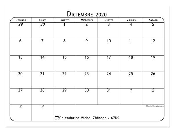 Calendario diciembre 2020, 67DS. Calendario gratuito para imprimir.