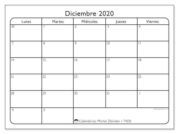 Calendario diciembre 2020, 74DS. Calendario gratuito para imprimir.