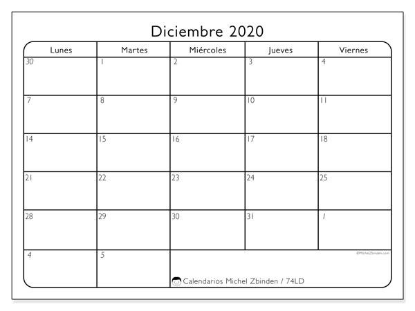Calendario diciembre 2020, 74LD. Planificación para imprimir gratis.