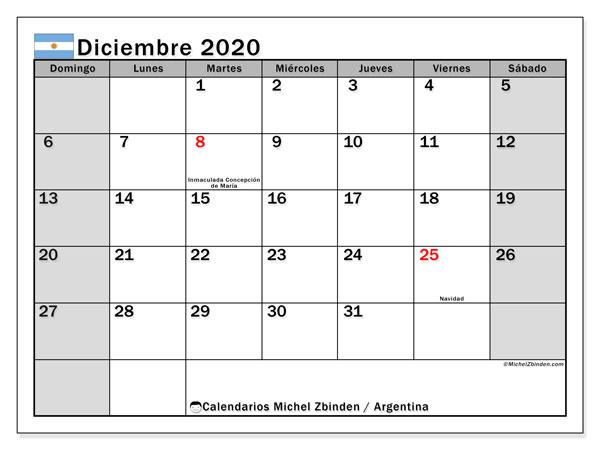 Calendario diciembre 2020, con los días feriados en Argentina. Calendario para el mes para imprimir gratis.