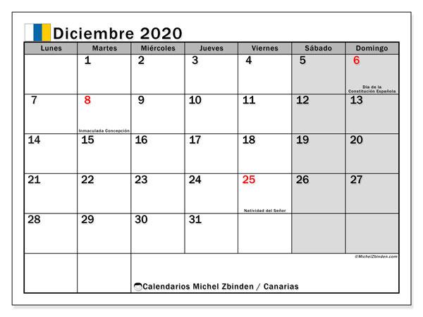 Calendario diciembre 2020, con días feriados en las Islas Canarias. Calendario para imprimir gratis con días festivos.
