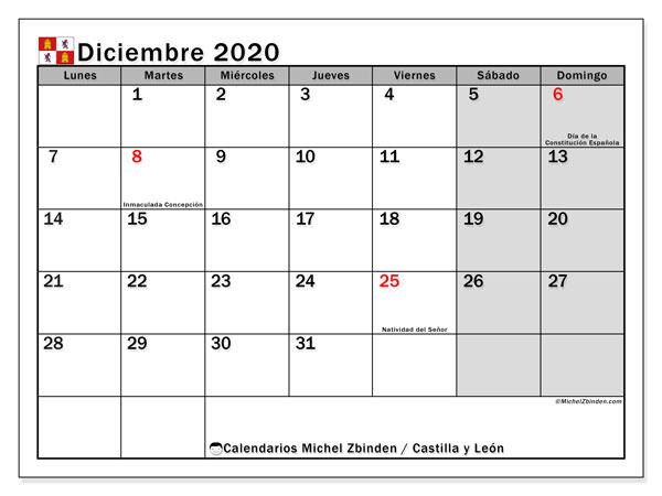 Calendario diciembre 2020, con días feriados de Castilla y León. Calendario para imprimir gratis con días festivos.