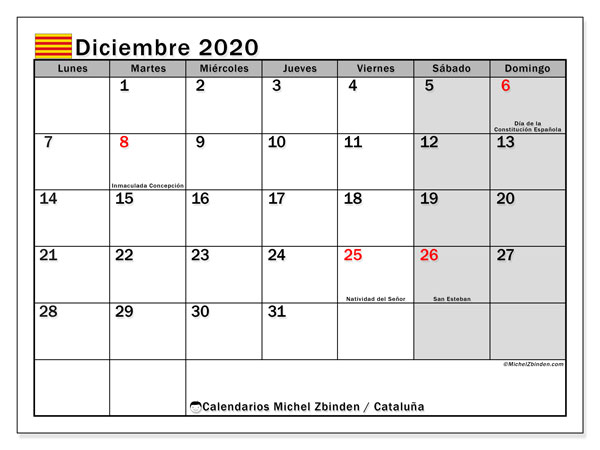 Calendario diciembre 2020, con días feriados en Cataluña. Calendario vacaciones y festivos para imprimir gratis.