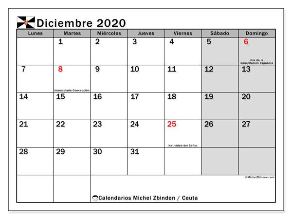 Calendario diciembre 2020, con días feriados en Ceuta. Calendario vacaciones y festivos para imprimir gratis.