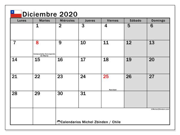 Calendario diciembre 2020, con días feriados en Chile. Calendario vacaciones y festivos para imprimir gratis.