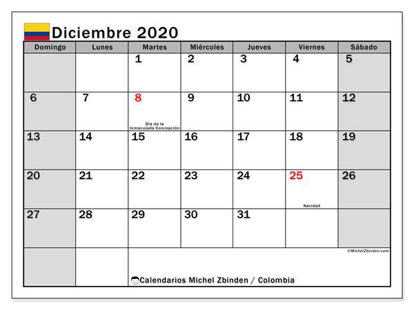 Calendario diciembre 2020, con días feriados de Colombia. Calendario para imprimir gratis con días festivos.