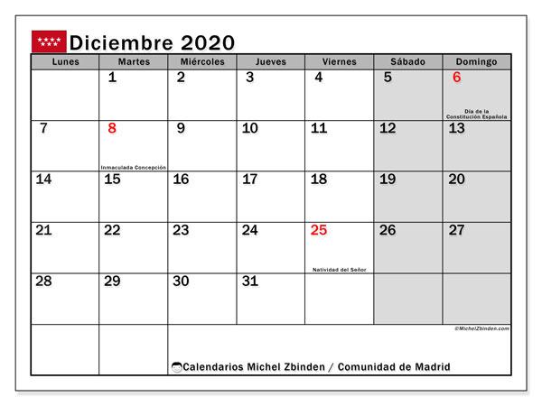 Calendario diciembre 2020, con días feriados de la Comunidad de Madrid. Calendario para imprimir gratis con días festivos.