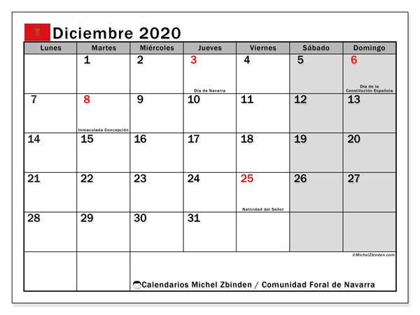 Calendario diciembre 2020, con días feriados de la Comunidad Foral de Navarra. Calendario para imprimir gratis con días festivos.
