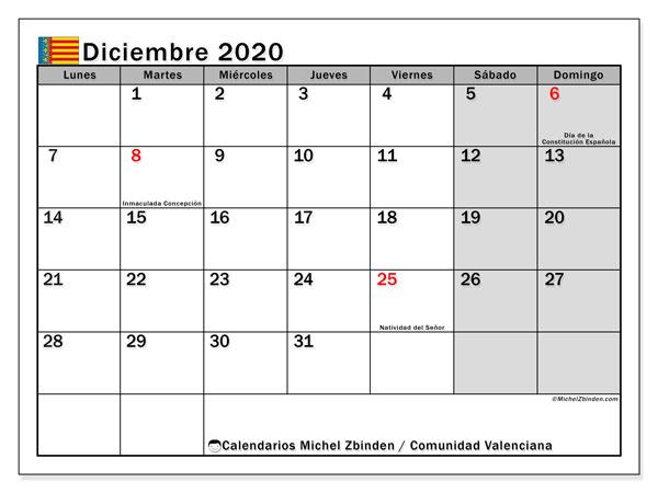 Calendario diciembre 2020, con días feriados de la Comunidad Valenciana. Calendario para imprimir gratis con días festivos.