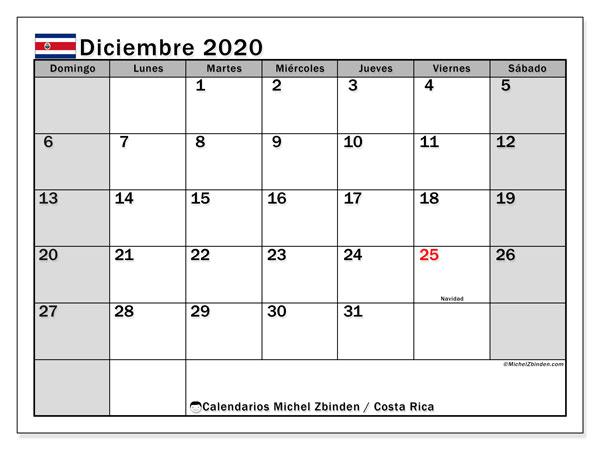 Calendario diciembre 2020, con días feriados de Costa Rica. Calendario para imprimir gratis con días festivos.