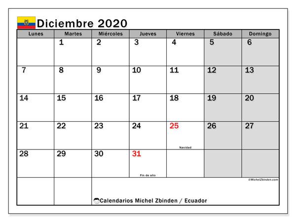 Calendario diciembre 2020, con días feriados en Ecuador. Calendario para imprimir gratis con días festivos.