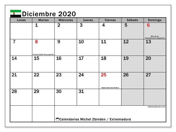 Calendario diciembre 2020, con días feriados en Extremadura. Calendario para imprimir gratis con días festivos.