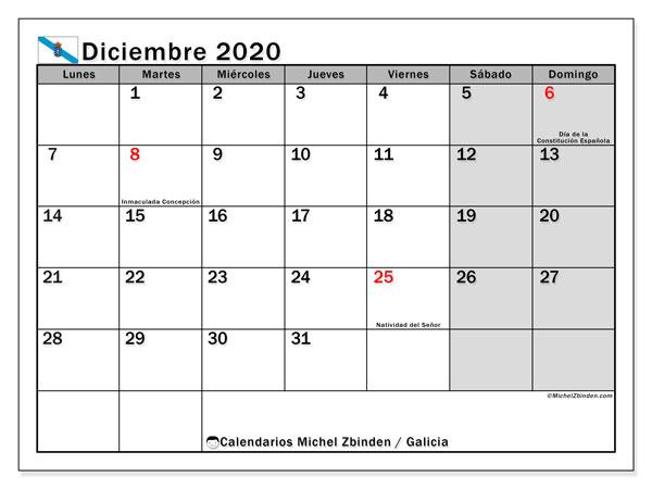 Calendario diciembre 2020, con días feriados en Galicia. Calendario vacaciones y festivos para imprimir gratis.