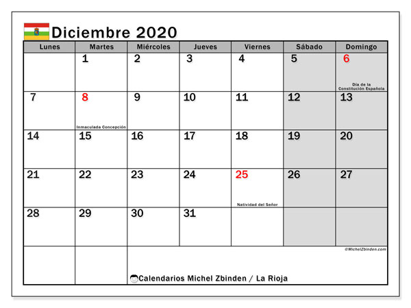 Calendario diciembre 2020, con días feriados en La Rioja. Calendario para imprimir gratis con días festivos.