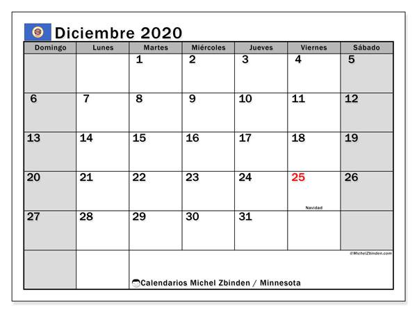 Calendario diciembre 2020, con días feriados de Minnesota. Calendario para imprimir gratis con días festivos.