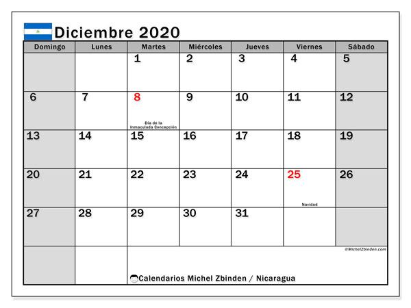 Calendario diciembre 2020, con días feriados en Nicaragua. Calendario para imprimir gratis con días festivos.