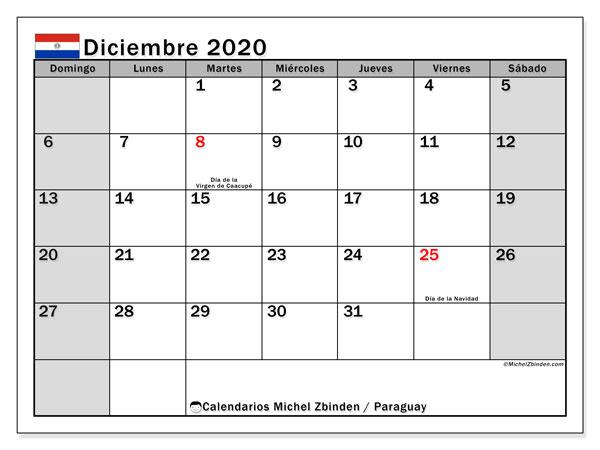 Calendario diciembre 2020, con días feriados en Paraguay. Calendario vacaciones y festivos para imprimir gratis.