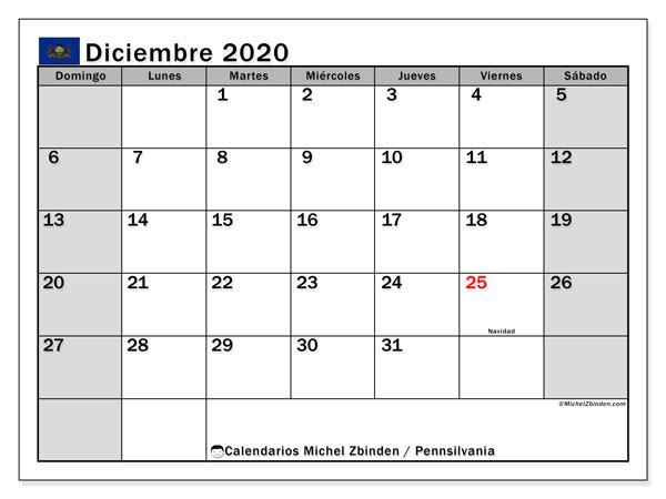 Calendario diciembre 2020, con días feriados en Pennsilvania. Calendario vacaciones y festivos para imprimir gratis.