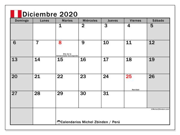 Calendario diciembre 2020, con días feriados en Perú. Calendario para imprimir gratis con días festivos.