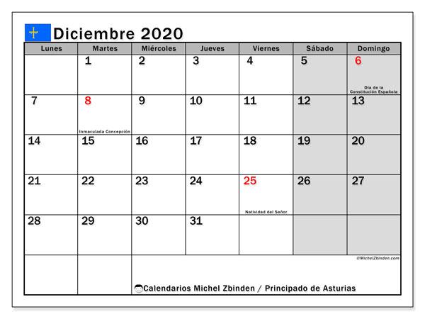 Calendario diciembre 2020, con días feriados del Principado de Asturias. Calendario para imprimir gratis con días festivos.