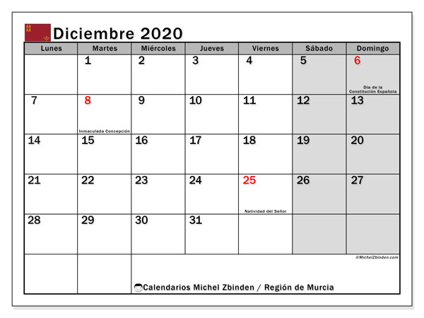 Calendario diciembre 2020, con días feriados en la Región de Murcia. Calendario para imprimir gratis con días festivos.