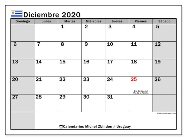 Calendario Diciembre 2020 Para Imprimir.Calendario Diciembre 2020 Uruguay Michel Zbinden Es