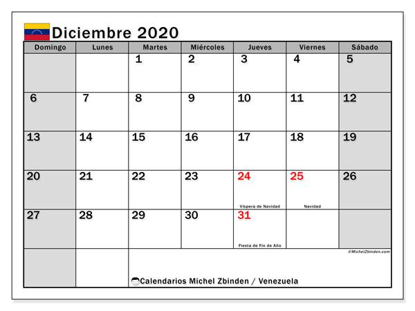 Calendario diciembre 2020, con los días feriados para Venezuela. Planificación para imprimir gratis.