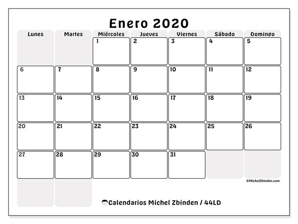 Calendario enero 2020, 44LD. Calendario imprimible gratis.