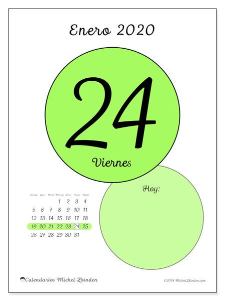 Calendario Diario 2020.Calendario Enero 2020 45 24ds Michel Zbinden Es