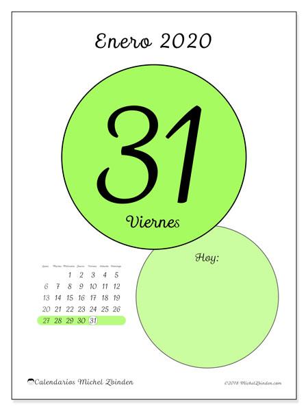 Calendario Diario 2020.Calendario Enero 2020 45 31ld Michel Zbinden Es