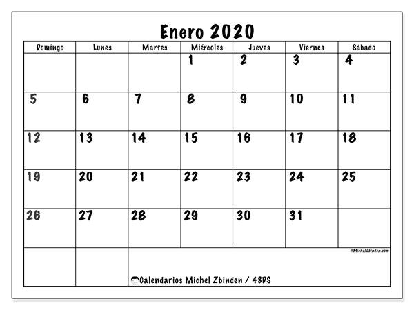 Calendario enero 2020, 48DS. Calendario para imprimir gratis.