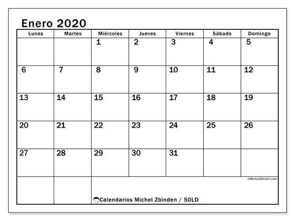 Calendario enero 2020, 50LD. Planificación para imprimir gratis.