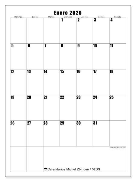 Calendario enero 2020, 52DS. Calendario para imprimir gratis.
