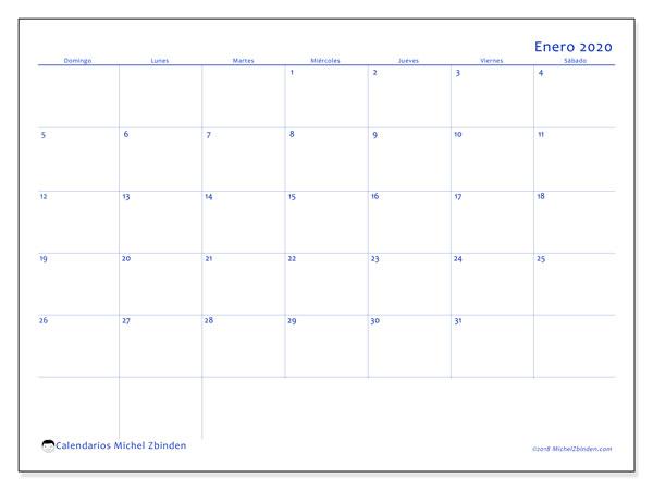 Calendario enero 2020, 55DS. Calendario gratuito para imprimir.